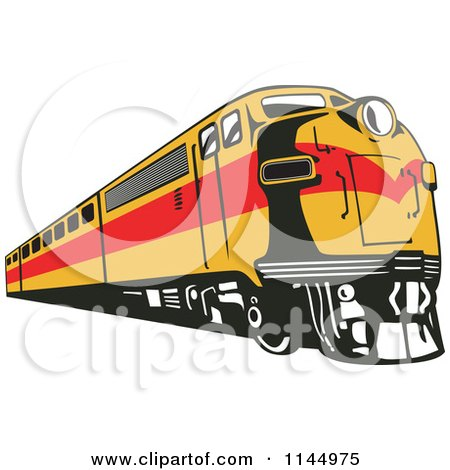 Clipart of a Retro Yellow and Red Train - Royalty Free Vector Illustration by patrimonio