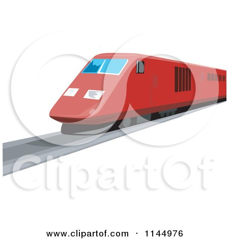 Clipart of a Retro Red Train 2 - Royalty Free Vector Illustration by patrimonio