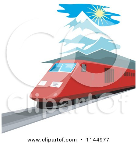 Clipart of a Retro Train in the Mountains 3 - Royalty Free Vector Illustration by patrimonio