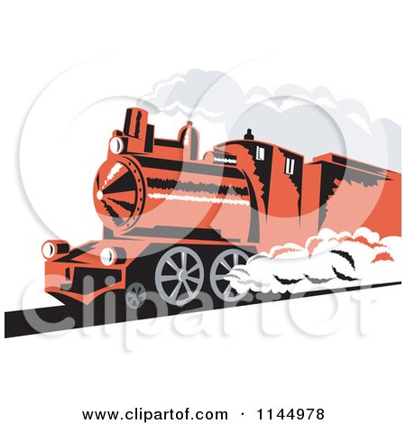 Clipart of a Retro Red Steam Engine Train - Royalty Free Vector Illustration by patrimonio