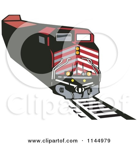 Clipart of a Retro Red Train 1 - Royalty Free Vector Illustration by patrimonio