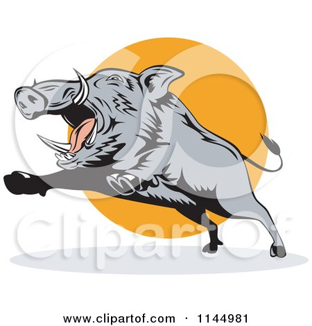 Clipart of a Retro Gray Boar Leaping - Royalty Free Vector Illustration by patrimonio