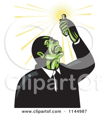 Clipart of a Retro Mad Scientist Looking up at a Test Tube - Royalty Free Vector Illustration by patrimonio