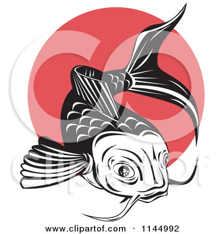 Clipart of a Retro Black and White Koi Fish over a Red Circle - Royalty Free Vector Illustration by patrimonio