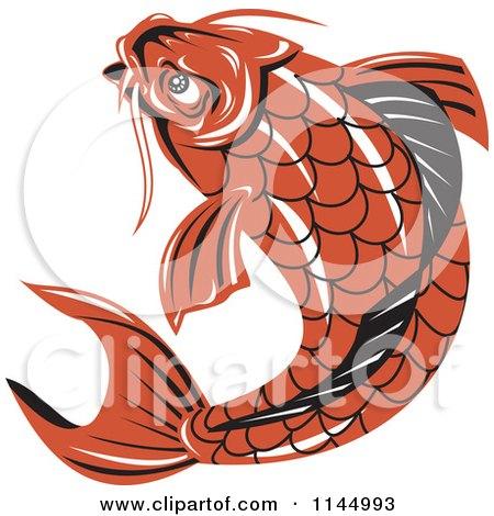 Clipart of a Retro Orange Koi Fish - Royalty Free Vector Illustration by patrimonio