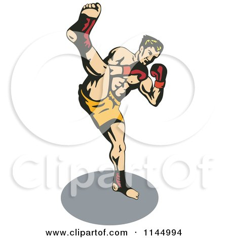 Clipart of a Boxer Fighter Kicking - Royalty Free Vector Illustration by patrimonio