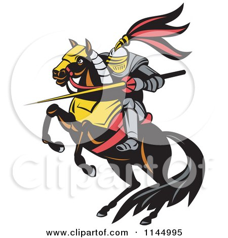 Retro Knight with a Lance on a Jousting Horse Posters, Art Prints