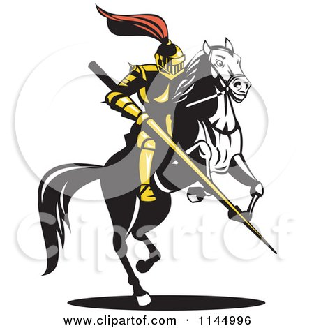 Clipart of a Retro Knight with a Lance on a Jousting Horse 2 - Royalty Free Vector Illustration by patrimonio