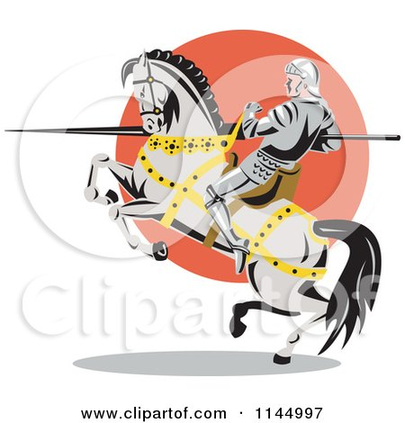 Clipart of a Retro Knight with a Lance on a Rearing Jousting Horse - Royalty Free Vector Illustration by patrimonio