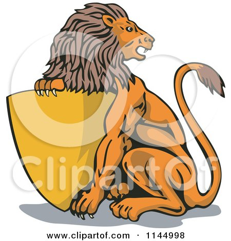 Clipart of a Retro Lion with a Gold Shield - Royalty Free Vector Illustration by patrimonio