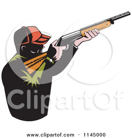 Clipart of a Retro Male Hunter Aiming a Rifle - Royalty Free Vector Illustration by patrimonio