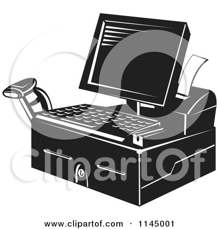 Clipart of a Retro Black and White Retail Merchant Cash Register and Checkout System - Royalty Free Vector Illustration by patrimonio