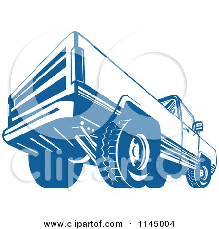 Clipart of a Retro Blue Pickup Truck from the Back - Royalty Free Vector Illustration by patrimonio