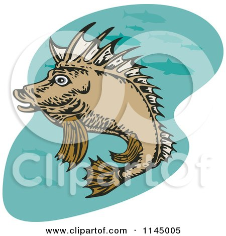 Clipart of a Pig Fish - Royalty Free Vector Illustration by patrimonio