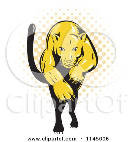 Clipart of a Retro Leaping Puma over Halftone - Royalty Free Vector Illustration by patrimonio