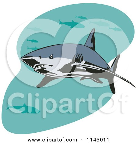 Clipart of a Shark Swimming with Fish 1 - Royalty Free Vector Illustration by patrimonio