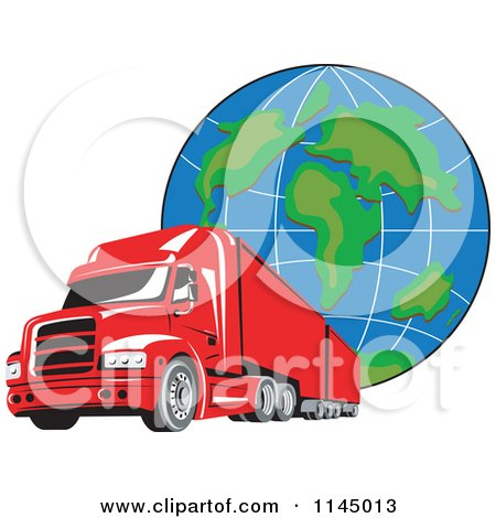 Clipart of a Retro Red Big Rig Truck and Globe 1 - Royalty Free Vector Illustration by patrimonio