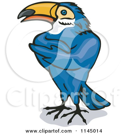 Clipart of a Blue Toucan with Folded Wings - Royalty Free Vector Illustration by patrimonio