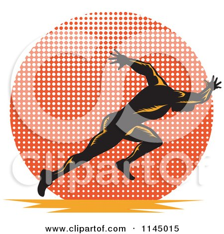 Clipart of a Retro Runner Sprinting over a Halftone Circle - Royalty Free Vector Illustration by patrimonio
