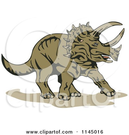 Clipart of a Brown Triceratops - Royalty Free Vector Illustration by patrimonio