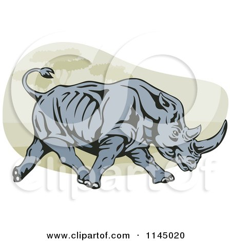 Clipart of a Retro Charging Rhino - Royalty Free Vector Illustration by patrimonio