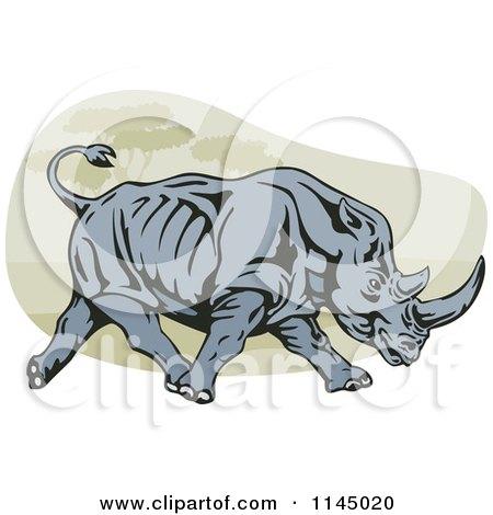Retro Charging Rhino Posters, Art Prints