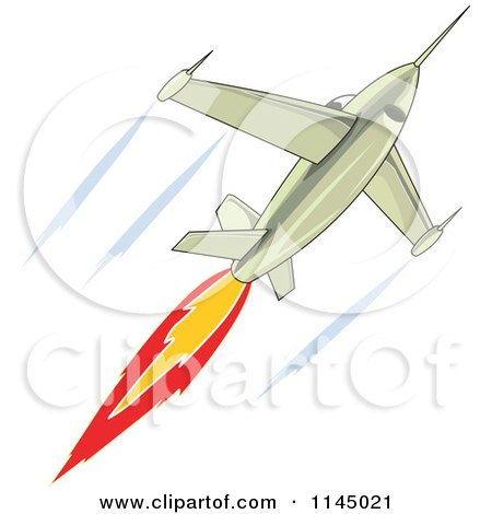 Clipart of a Fighter Jet - Royalty Free Vector Illustration by patrimonio