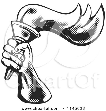 Clipart of a Retro Black and White Halftone Hand Holding a Flaming Torch - Royalty Free Vector Illustration by patrimonio
