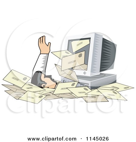 Clipart of a Desktop Computer Spewing out Email and Burying a Man in Spam - Royalty Free Vector Illustration by patrimonio