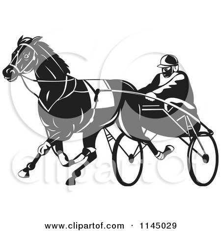 Clipart of a Retro Black and White Trotter Harness Horse Racer - Royalty Free Vector Illustration by patrimonio