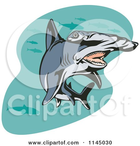 Clipart of a Swimming Hammerhead Shark - Royalty Free Vector Illustration by patrimonio