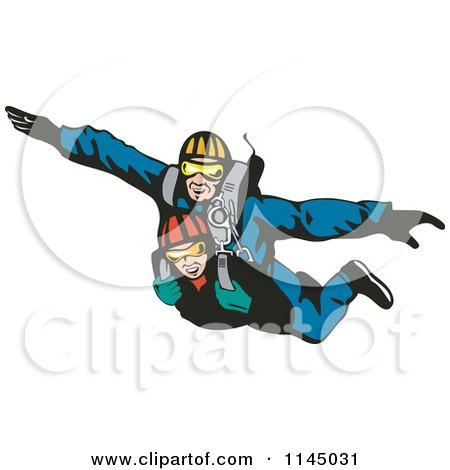 Clipart of Tandem Skydivers Free Falling - Royalty Free Vector Illustration by patrimonio