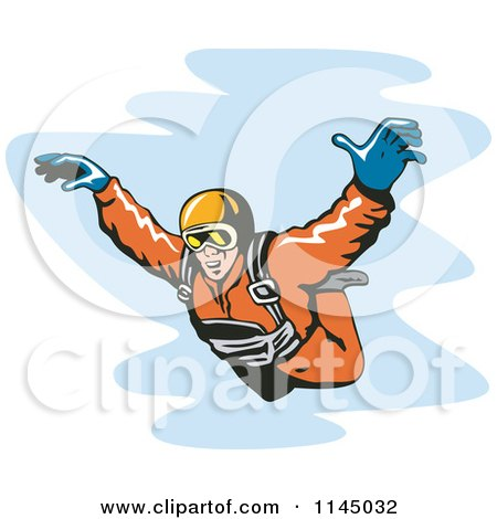 Clipart of a Solo Skydiver Free Falling - Royalty Free Vector Illustration by patrimonio