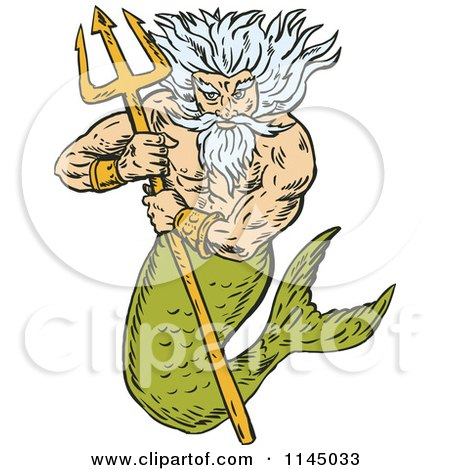 Clipart of a Merman King Titan Holding a Trident - Royalty Free Vector Illustration by patrimonio