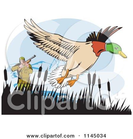 Clipart of a Retro Hunter Aiming at a Mallard - Royalty Free Vector Illustration by patrimonio