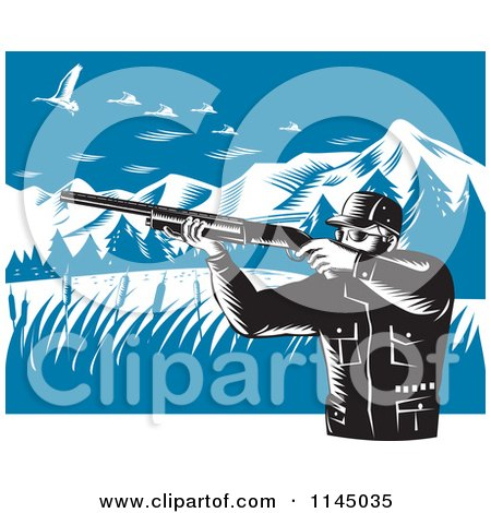 Clipart of a Retro Hunter Holding a Rifle and Aiming at Geese in the Mountains - Royalty Free Vector Illustration by patrimonio