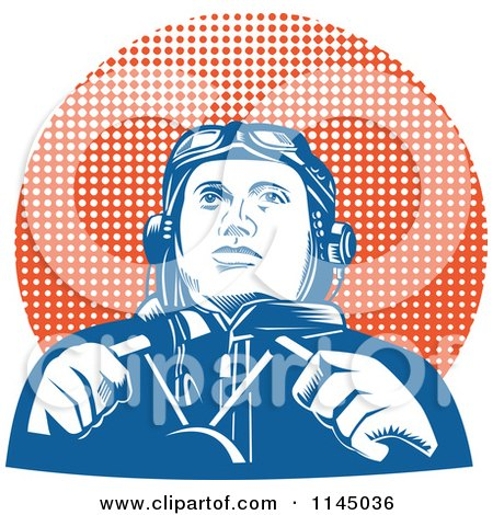 Clipart of a Retro WW2 Pilot in the Cockpit over Halftone - Royalty Free Vector Illustration by patrimonio
