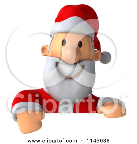 Clipart of a 3d Christmas Santa with a Sign 2 - Royalty Free CGI Illustration by Julos
