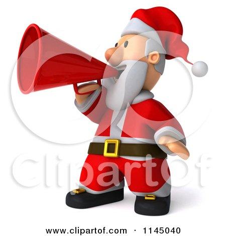 Clipart of a 3d Christmas Santa Announcing with a Megaphone - Royalty Free CGI Illustration by Julos