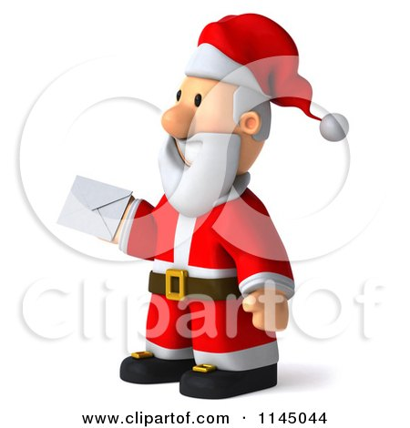 Clipart of a 3d Christmas Santa Holding an Envelope - Royalty Free CGI Illustration by Julos