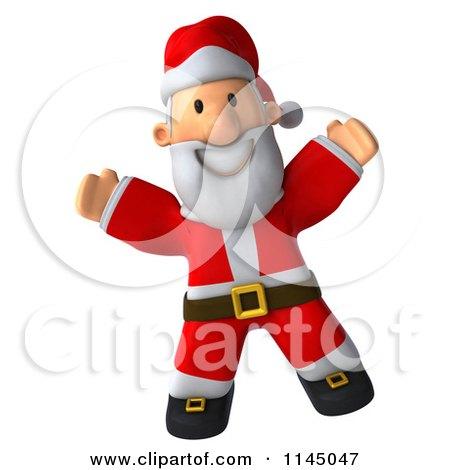 Clipart of a 3d Christmas Santa Jumping - Royalty Free CGI Illustration by Julos