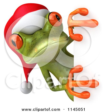Clipart of a 3d Green Christmas Frog Wearing a Santa Hat and Looking Around a Sign - Royalty Free CGI Illustration by Julos