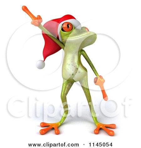 Clipart of a 3d Green Christmas Frog Wearing a Santa Hat and Dancing 1 - Royalty Free CGI Illustration by Julos