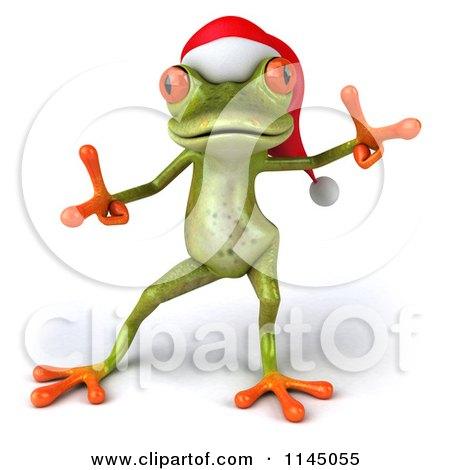 Clipart of a 3d Green Christmas Frog Wearing a Santa Hat and Dancing 2 - Royalty Free CGI Illustration by Julos