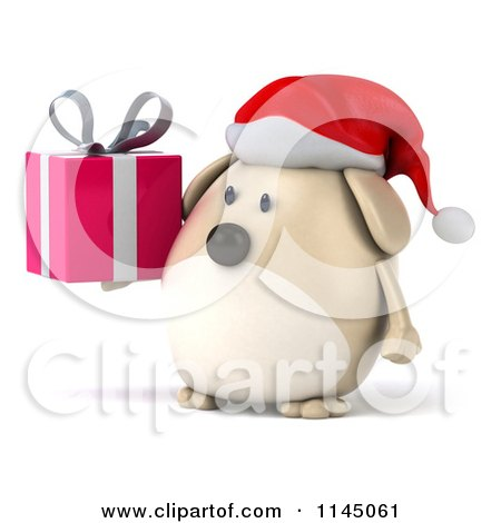 Clipart of a 3d Chubby White Christmas Dog with a Gift - Royalty Free CGI Illustration by Julos
