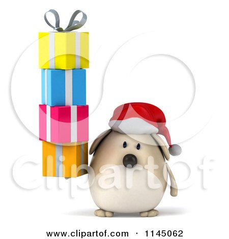 Clipart of a 3d Chubby White Christmas Dog with Gifts - Royalty Free CGI Illustration by Julos