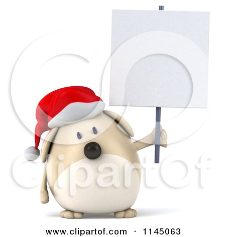 Clipart of a 3d Chubby White Christmas Dog with a Sign 3 - Royalty Free CGI Illustration by Julos