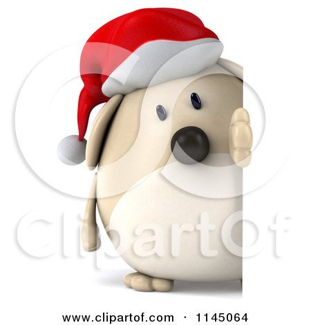 Clipart of a 3d Chubby White Christmas Dog with a Sign 2 - Royalty Free CGI Illustration by Julos