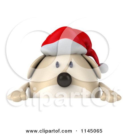 Clipart of a 3d Chubby White Christmas Dog with a Sign 1 - Royalty Free CGI Illustration by Julos