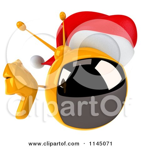 20025b2f6c48a Clipart of a 3d Retro Christmas Tv Wearing a Santa Hat and Holding a Thumb  down